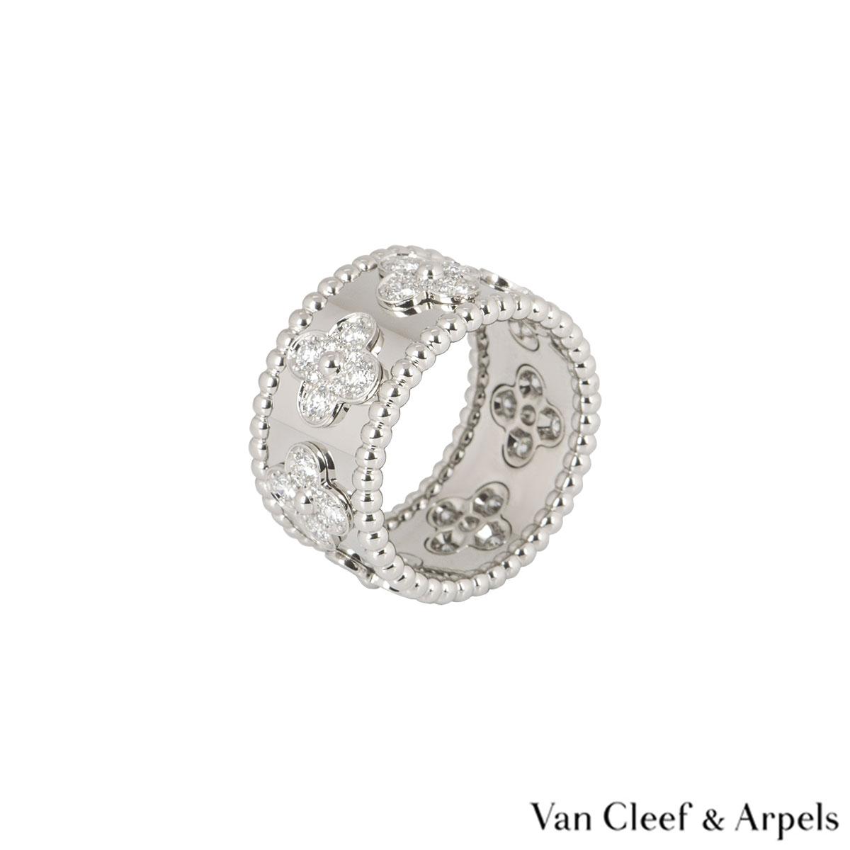Van Cleef & Arpels White Gold Diamond Perlée Clovers Medium Ring
